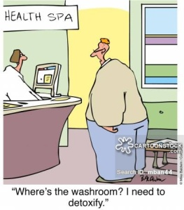 "At the health spa: ""Where's the washroom? I need to detoxify."""