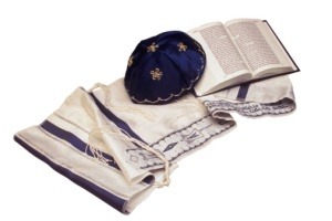 kippah and tallit with siddur
